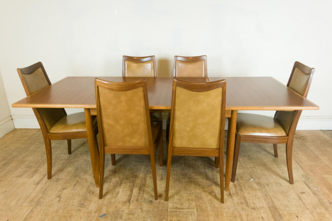 Vintage Retro Danish Oak and Teak Extending Table and 6 Teak Chairs by G Plan
