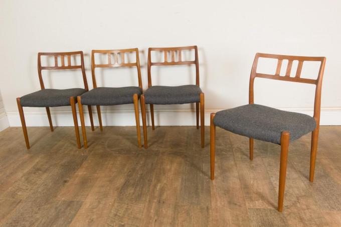 Vintage Set of 4 JL Moller Model 79 Teak Chairs