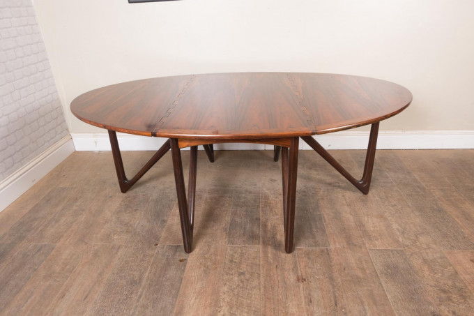 Niels Koefoed Gateleg Rosewood Dining Table for Koefoeds Møbelfabrik