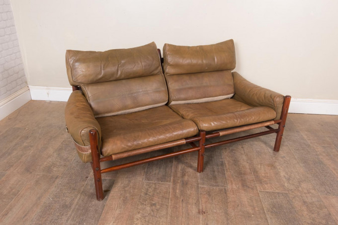 Vintage Arne Norell Kontike 2 Seater Leather Sofa