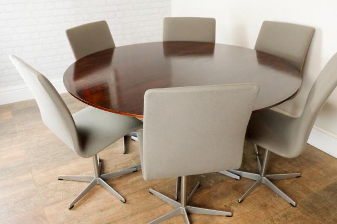 Arne Jacobsen For Fritz Hansen Table & 6 Oxford Chairs Danish 1950s