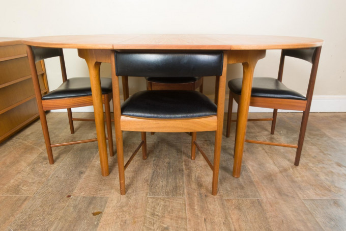 McIntosh Teak Tuck Under Dining Table and 4 Chairs