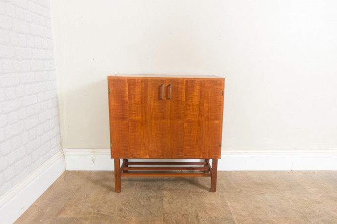 Small Vintage Teak Record Player Cabinet