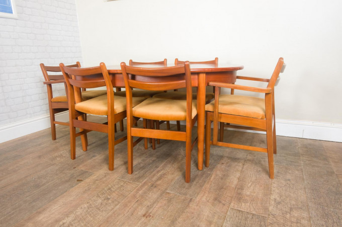 Teak Extending Dining Table and 6 Chairs by Jentique