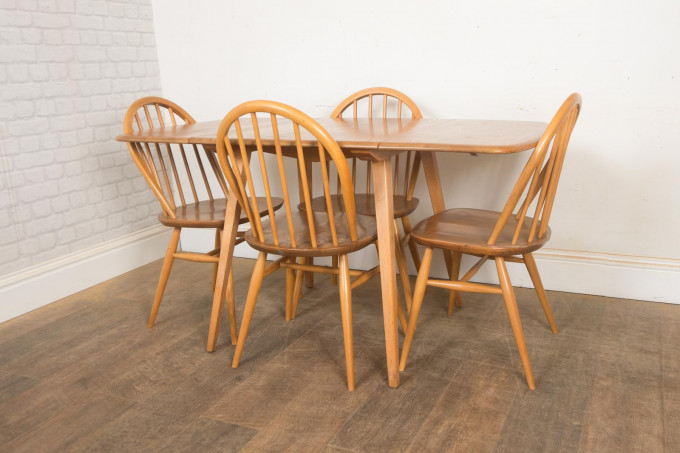 Ercol Light Elm Drop Leaf Rectangular table and 4 Chairs