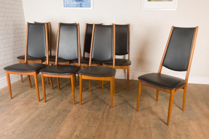 Set of 8 Teak Danish High Back Dining Chairs by Nyrup Mobelfabrik