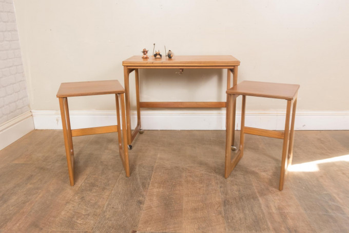 McIntosh Triform Teak Nest Of Tables With Folding Swivel Top