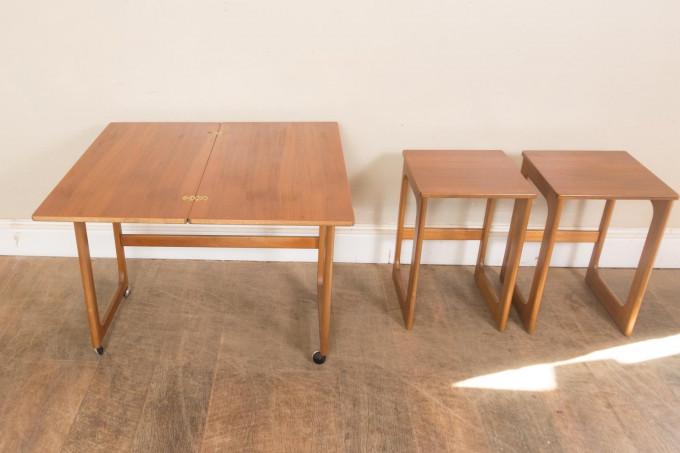 McIntosh Triform Teak Nest Of Tables With Folding Swivel Top