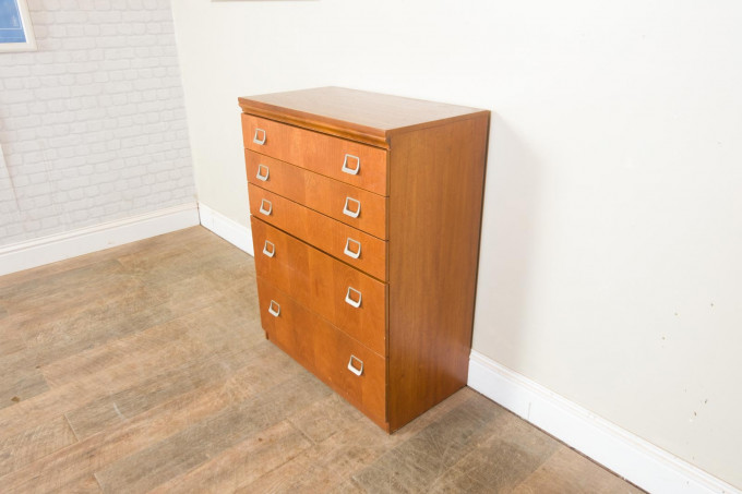 Tall Mid Century Teak Chest of Drawers by William Lawrence