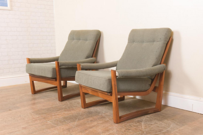 Pair of Afromosia Guy Rogers Virginia Armchairs