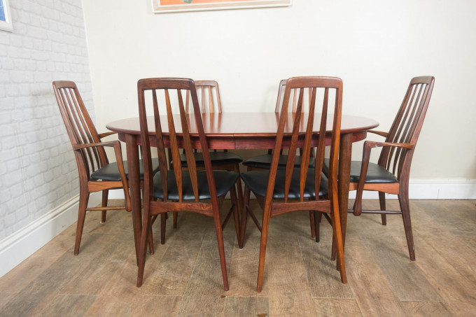 Rosewood Dining Table and 8 Chairs by Koefoeds Hornslett