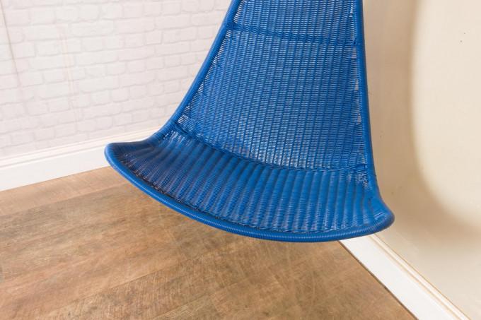 Hanging Blue Rattan Garden Chair