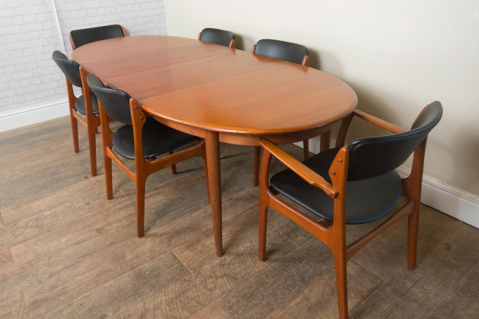 Teak Extending Dining Table and 6 Erik Buch Chairs