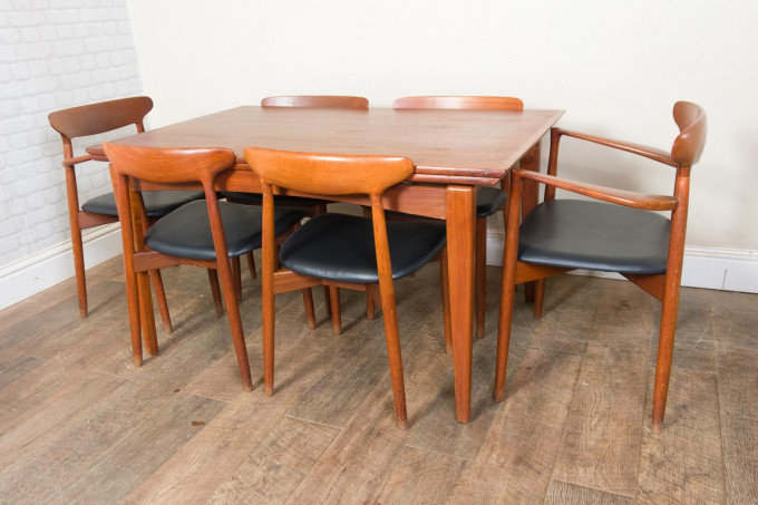 Danish Teak Extending Table and 6 Chairs by Randers