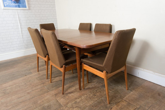 Archie Shine Walnut Dining Table and Chairs
