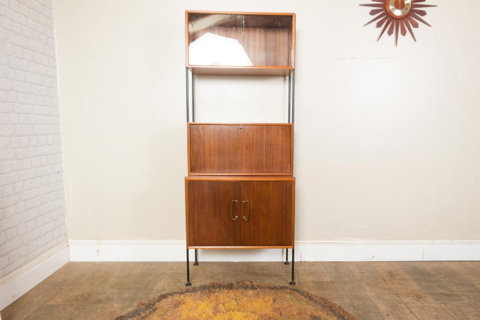 Teak and Rosewood Modular Wall Unit by Vanson