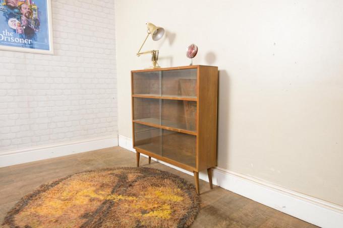 Vintage Mid Century Light Oak Glazed Bookcase