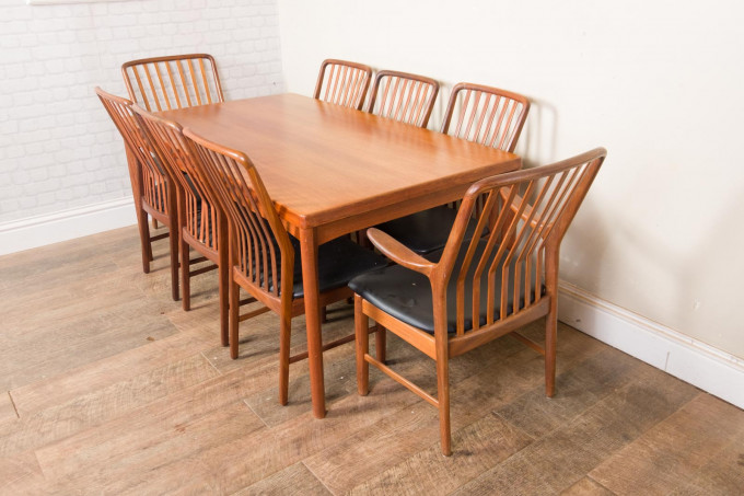 Large Danish Teak Dining Table and 8 Svend Aage Madsen Chairs